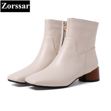 {Zorssar} 2017 NEW fashion High heels Women Chelsea Boots Square toe leisure Mid heel ankle Riding boots winter female shoes