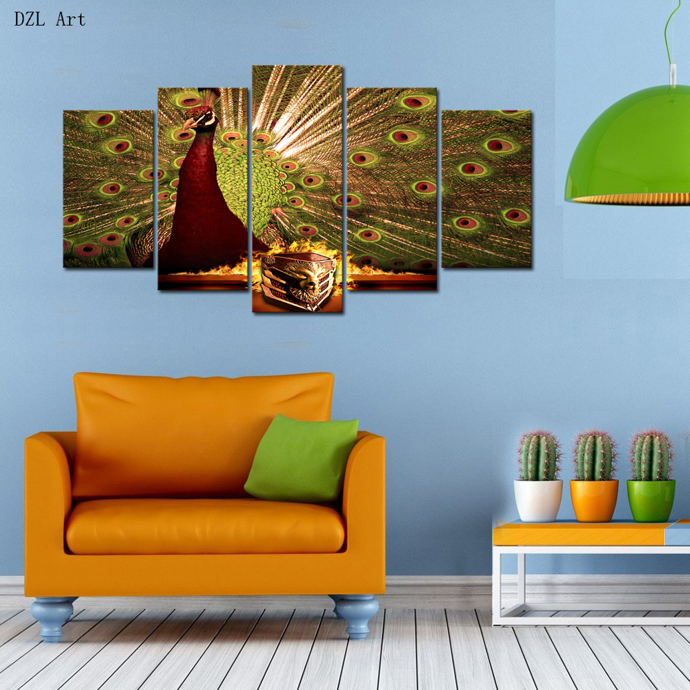 Peacock bedroom set - Drop Shipping 5 Sets Panels Peacock Print On Canvas Large Canvas Painting For Bedroom Living Room Wall Art For Home Decor