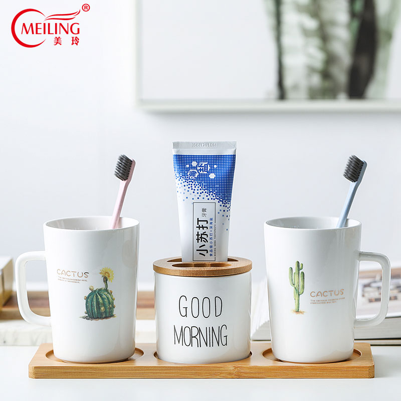 Nordic Cactus Ceramic Bathroom Accessories Set With Bamboo Tray White Toothbrush Holder Birthday Wedding Housewarming Gift Ideas image