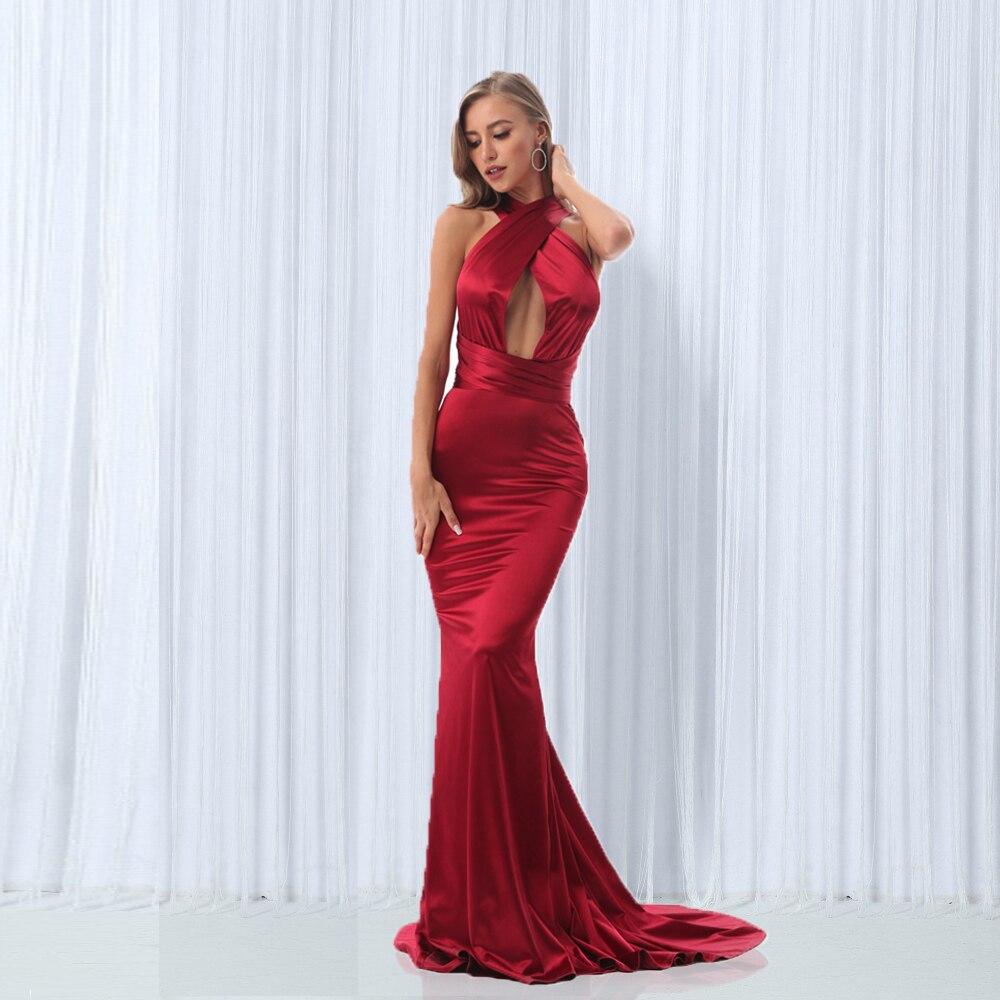 Sexy dos nu Satin moulante robe de soirée licou étage longueur Maxi robe sans manches col en V longue robe Stretch Satin robe sirène