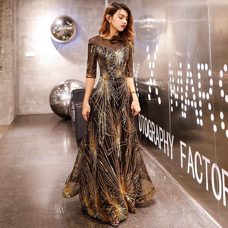 Robe De soirée Robe De soirée 2019 or paillettes cristal o-cou noir étage-longueur robes De dîner LF405 - 2