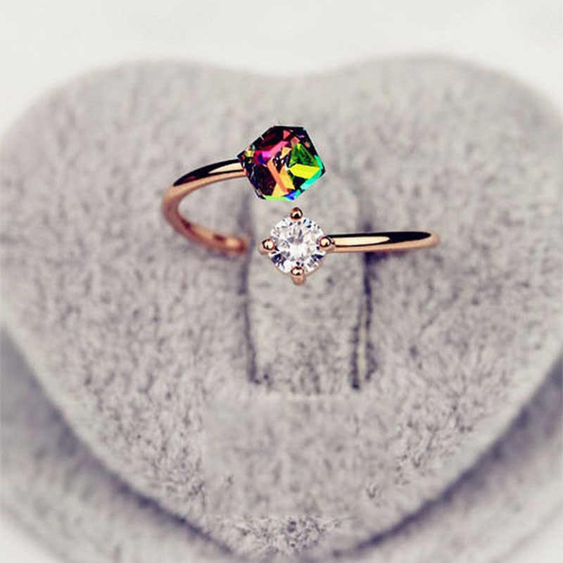 สายรุ้งเพทายแหวนกุหลาบทองเครื่องประดับแหวนสำหรับผู้หญิงของขวัญวันวาเลนไทน์ bagues pour femme งานแต่งงานแหวนของขวัญ