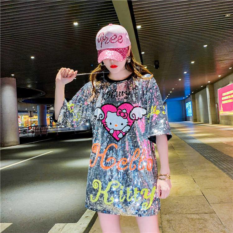 6d7c091c8 ... Womans Runway Printed Sequined Long T-shirt Dresses 2019 Newest Women  Cut Cartoon Hello Kitty