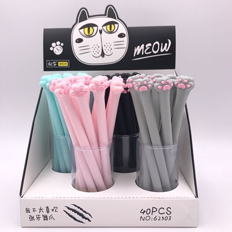 40 Pcs Gel Pens Cartoon Cute Paw Black Colored Kawaii Gift Gel-ink Pens Pens For Writing Cute Stationery Office School Supplies