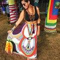 Señoras de La Manera del Estilo del verano 2016 Mujeres Casual Beach Saias Cintura Impreso Bohemio Faldas Largas Gitano Bohemio Maxi Falda Ropa 2251
