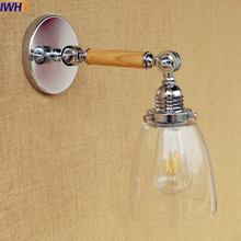 IWHD Wooden Long Arm Wall Lamp Vintage Glass shade Retro LED Wall Light Fixtures Loft Style Industrial Lighting Lampara Pared iwhd vintage glass lampara pared creativeretro iron loft wall lamp black bedroom lighting stairs beside reading light fixture