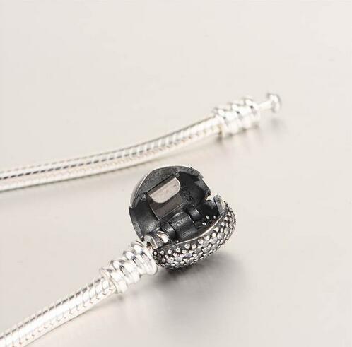 Bracelets en argent sterling 925 Bracelet serpent européen avec fermoir coeur en zircon cubique pour femmes et hommes bijoux bricolage YL018 - 5