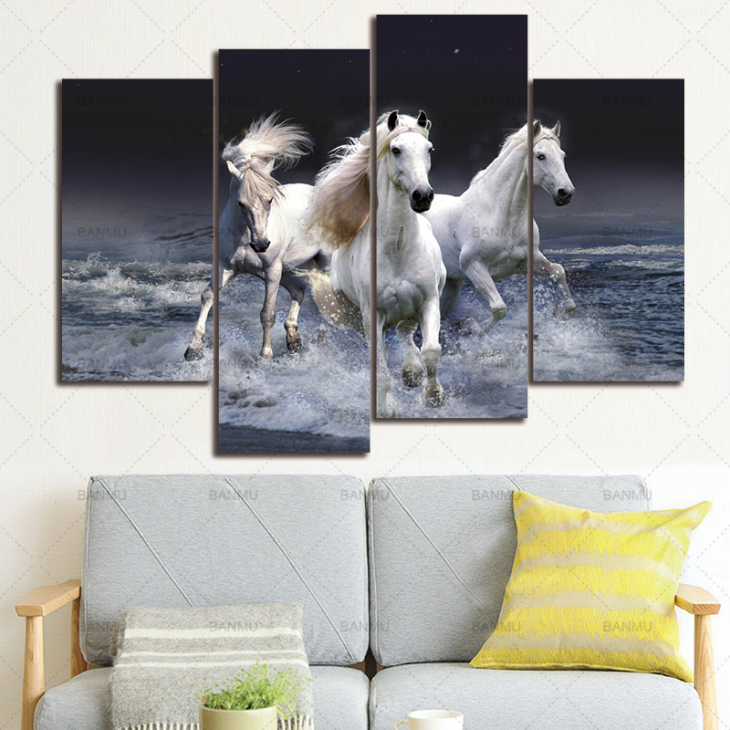 Canvas painting wall art picture 4 Panels Photo Prints on Three Horses Run on The Banks  ...