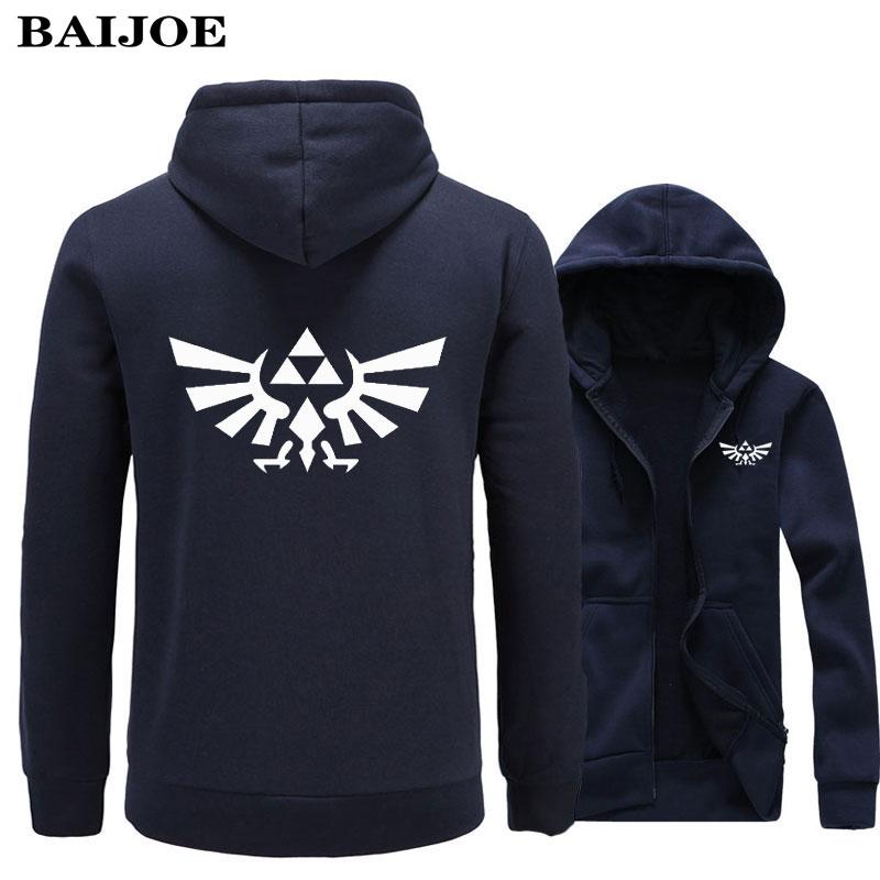 BAIJOE Brand The Legend of Zelda movie game Printed Hoodie Sweatshirt Mens Moletom Masculino Zipper Hoodies hip hop Tracksuit