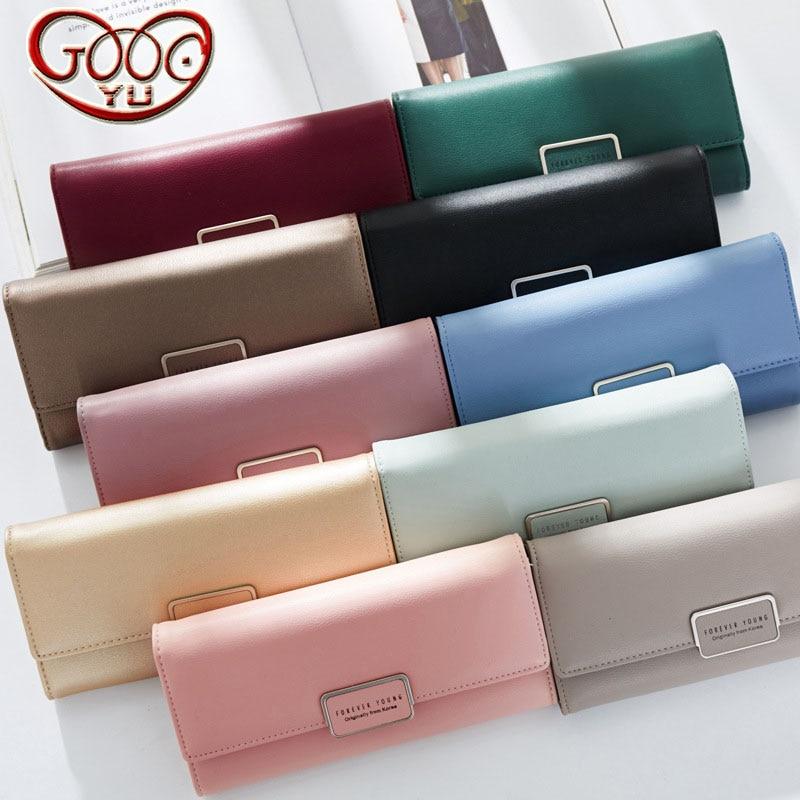 New ladies PU leather cross-wallet Korean version of buckle long clutch multi-card bit wallet clutch bag