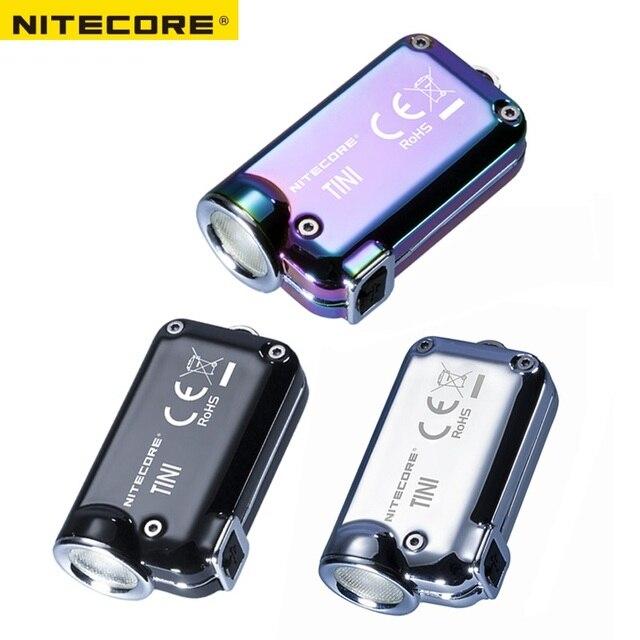 Nitecore TINI SS USB TINISS נטענת פלדת LED מפתח אור CREE XP G2 S3 LED 380 LM כולל USB נטענת ליתיום סוללה