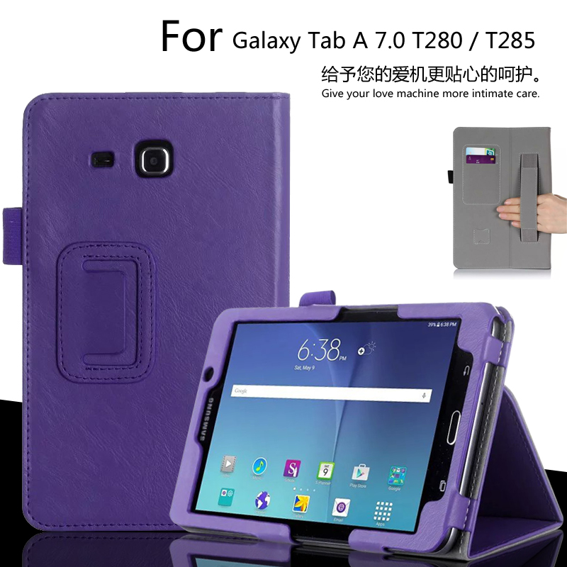 For Samsung Galaxy Tab A 7.0 SM-T280 T285 T280N 7.0 inch Tablet Luxury Leather Card Wallet Hand Strap Stand Case Cover luxury flip stand case for samsung galaxy tab 3 10 1 p5200 p5210 p5220 tablet 10 1 inch pu leather protective cover for tab3