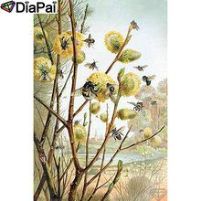 DIAPAI 100% Full Square/Round Drill 5D DIY Diamond Painting Dandelion bee Embroidery Cross Stitch 3D  Decor A18886