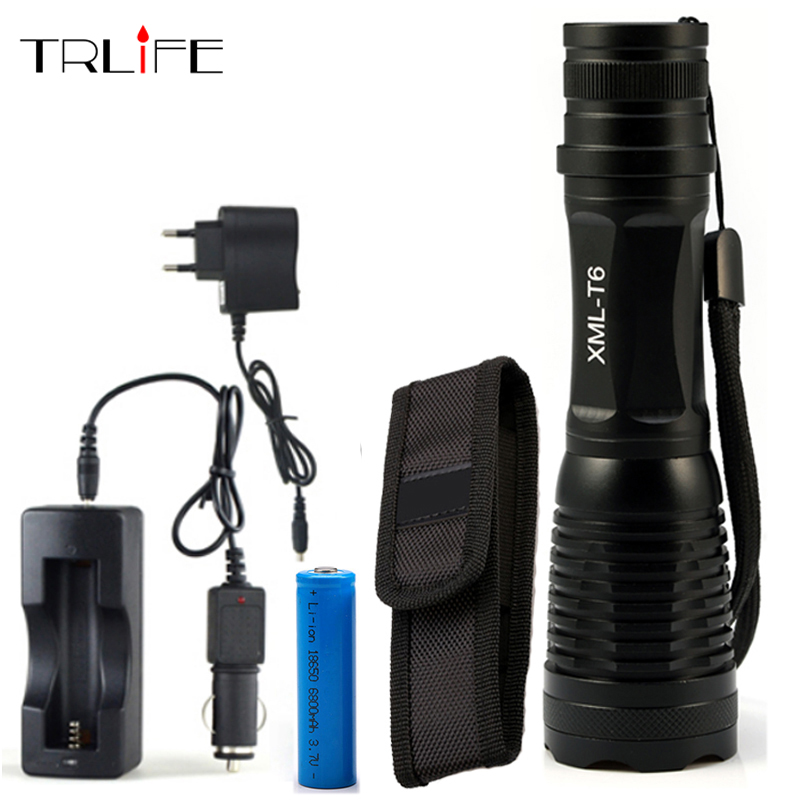 5000Lumens Flashlight LED CREE XM-L T6 Torch Zoom Tactical Flashlight Camping Light +1*18650 +AC/Car Charger nitecore p10 portable flashlight cree xm l2 t6 led 800 lumens 3 mode dual switch tail 18650 outdoor camping tactical torch