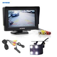 DIYSECUR провода 4,3 дюймов TFT ЖК дисплей автомобиля Мониторы Заднего вида Комплект Реверсивный HD светодиодный Камера авто парковочные системы
