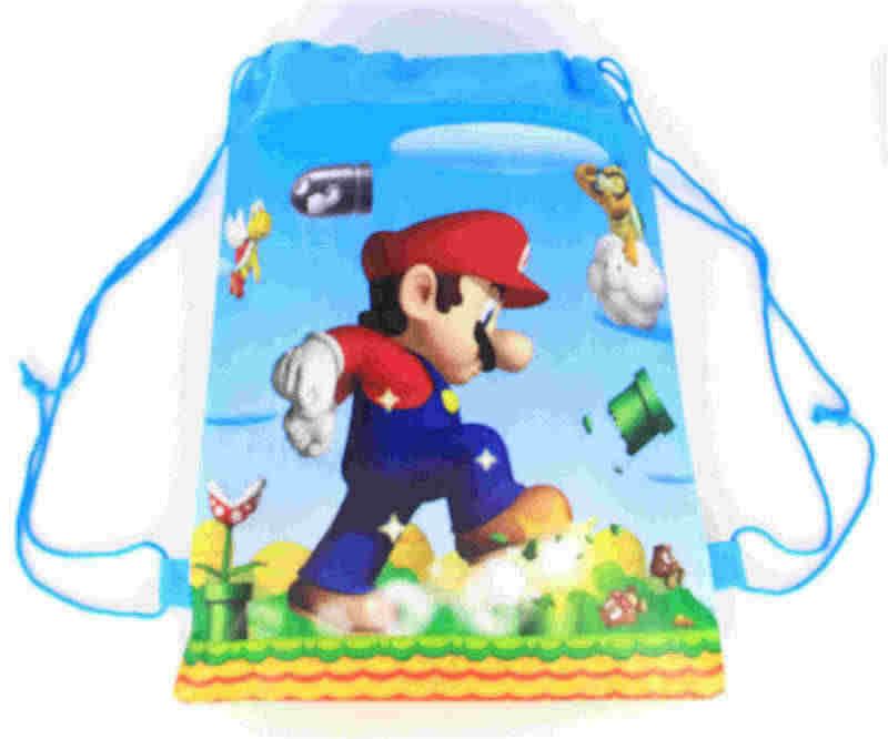 20 pçs super mario tema não-tecido tecidos drawstring mochila para crianças festa de aniversário favor presente saco 34*27cm