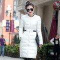 Casacos de inverno para As Mulheres Ultraleves Para Baixo Casaco Longo Para Baixo Casaco de Inverno de algodão Mulheres Jaqueta de Cintura Fina Na Altura Do Joelho; manteau femme