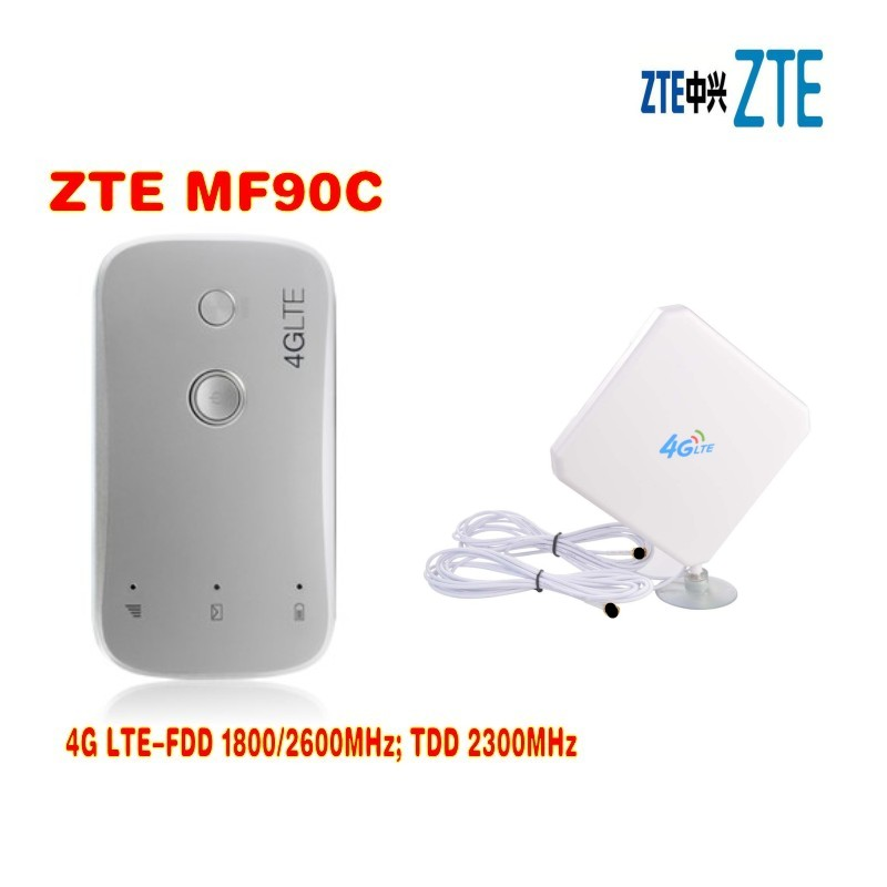 unlocked ZTE MF90c 100Mbps MiFi 4g lte wifi Router Support LTE FDD 1800/2600MHz TDD 2300MHz plus 4g 35dbi TS9 antenna