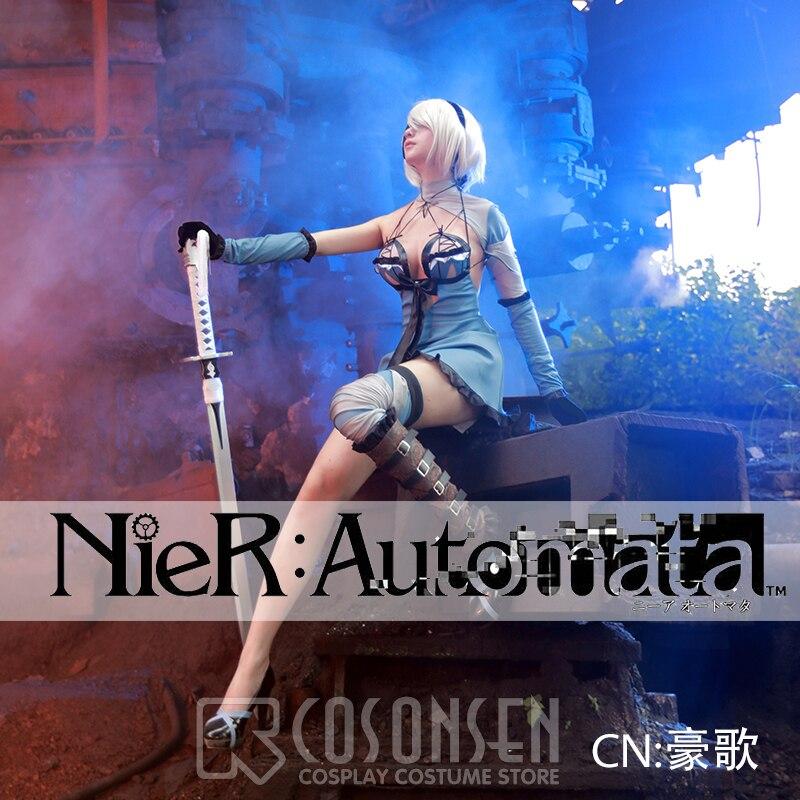 [STOCK] 2018 Game NieR:Automata 2B DLC Sexy Swimsuit Battle Uniform Cosplay Costume Full Set For Women Halloween Free Shipping.