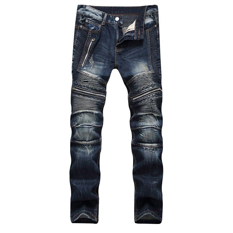 New Biker Men's Zipper Jeans Men Slim Fit Straight Moto Punk Dark Long Designer Pants Nightclubs Mens Jeans Pleated Black Pants 2017 men jeans biker pleated mens denim ripped jeans hip hop straight stretch zipper distressed moto slim fit pleated punk pants