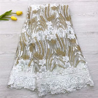 2019 High Quality African Lace Fabric Pure White French Net Embroidery Tulle Lace Fabric For Nigerian Wedding Party Dress