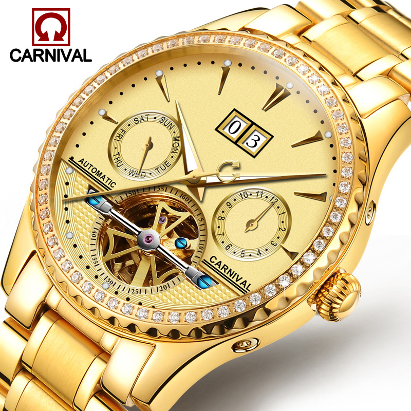 Carnival Watch Men Automatic Mechanical Luminous All Gold Stainless Steel Waterproof Date Week tourbillon Watches