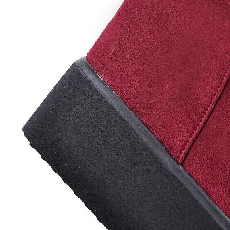 Épais 34 M31 Le Genou Slip blue Sur M31 forme Talons Des Taille red Croissante Black Hauteur 43 Evchar on Chaussures Plate Grande Femmes M31 Rouge Noir Bleu Bottes D29IHWYE