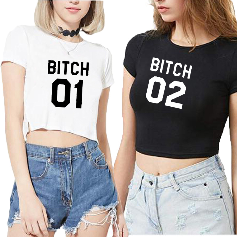 Women Ladies <font><b>Sexy</b></font> Best Friends <font><b>Top</b></font> <font><b>Cropped</b></font> T Shirt Sisters <font><b>Tumblr</b></font> Casual BITCH 01 02 Print Cotton Casual Streetwear Shirt <font><b>Tops</b></font> image
