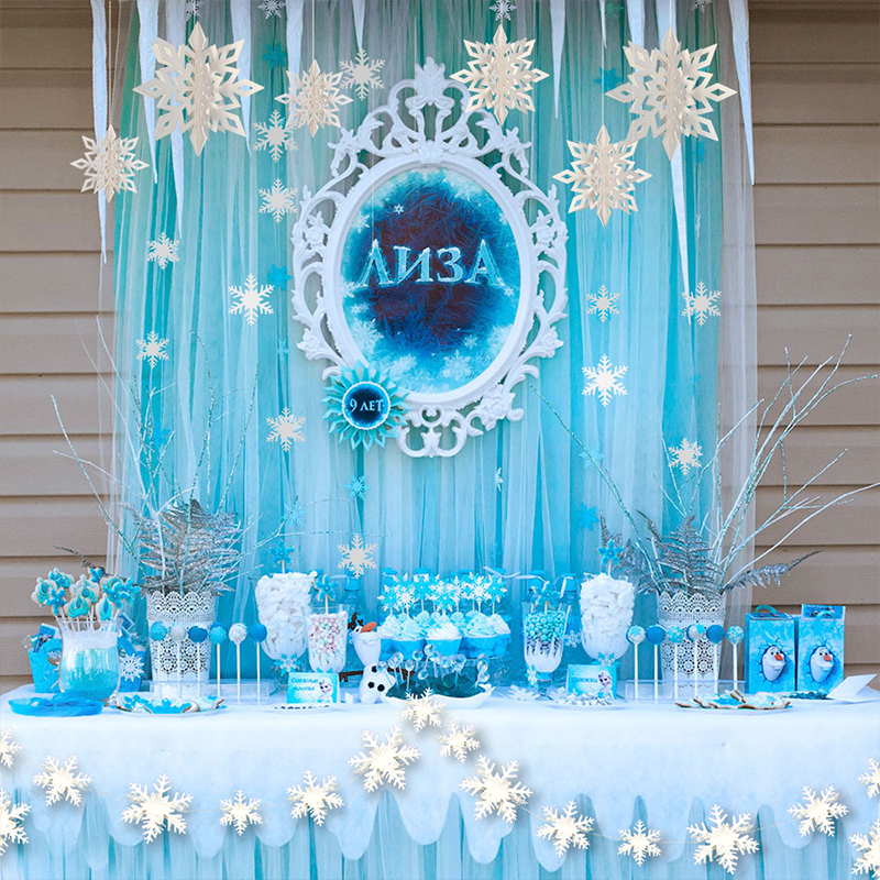 Frozen White Blue Girls Birthday Party Kits Supplies Paper 3D Snowflakes Garland For Baby Shower Home Scene Christmas Decoration