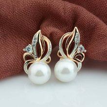 298692464399 FJ 2 Color las mujeres belleza 585 Rosa mezclado Color oro blanco perla  simulada pendientes blanco Cubic Zircon flores pendiente.