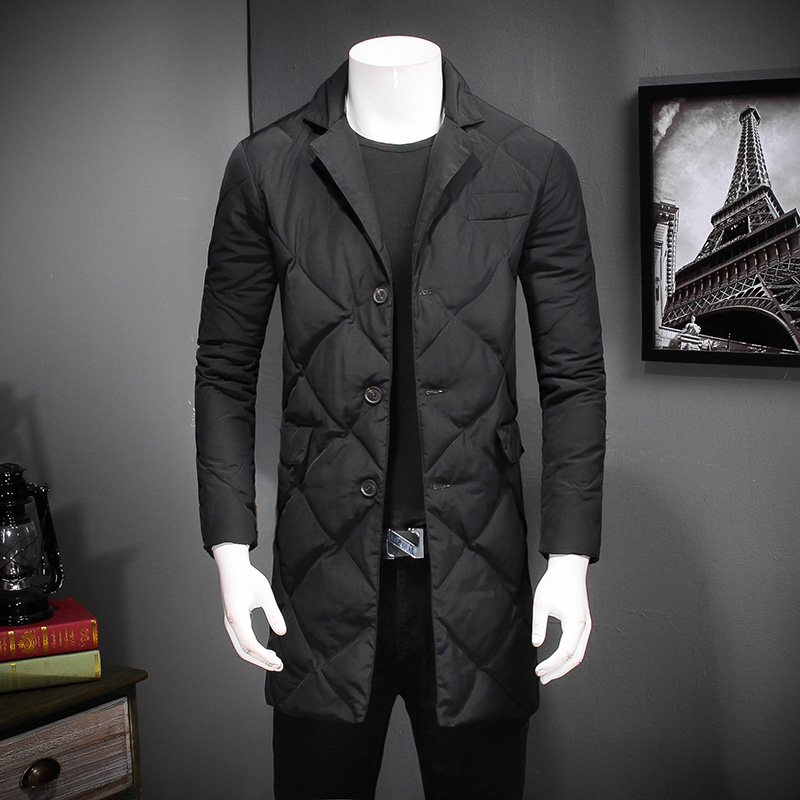 Здесь продается  2018 New Jacket Parkas Hombre Warm Fashion Casual Man Parka Single Breasted Long Thickening Coat Men For Winter Blue 4XL #831  Одежда и аксессуары