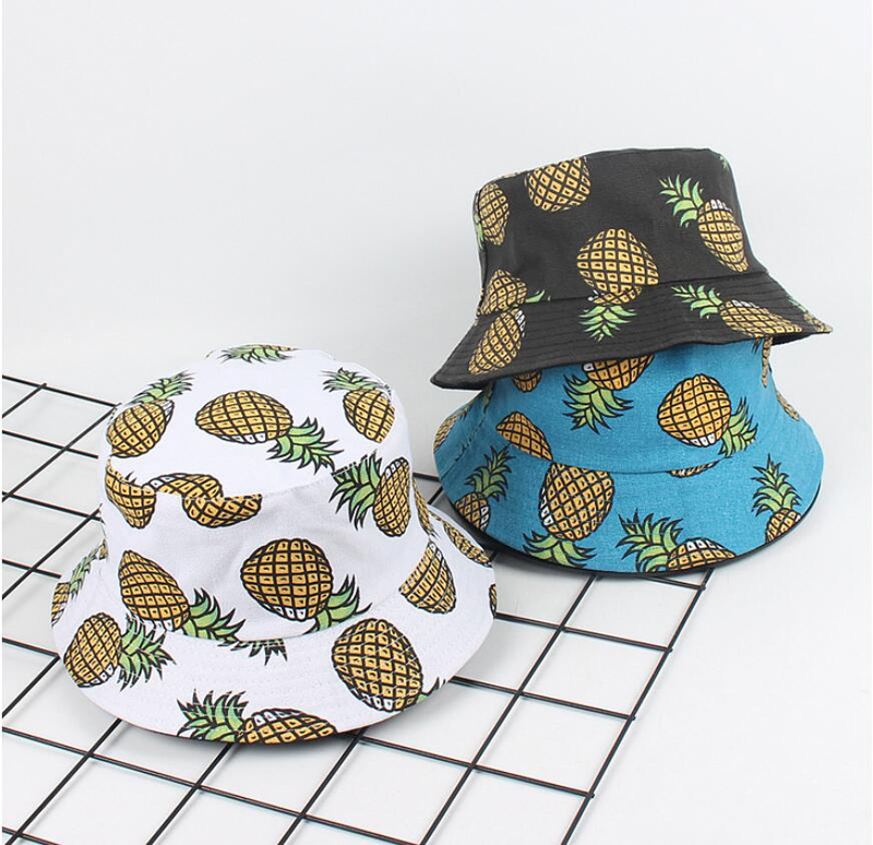 2018 Two Side Reversible pineapple Bucket Hat cap Bob Caps printed outdoor  Men s panama Caps Beach Sun Fishing boonie Hat -in Bucket Hats from Apparel  ... d1e708d22d7