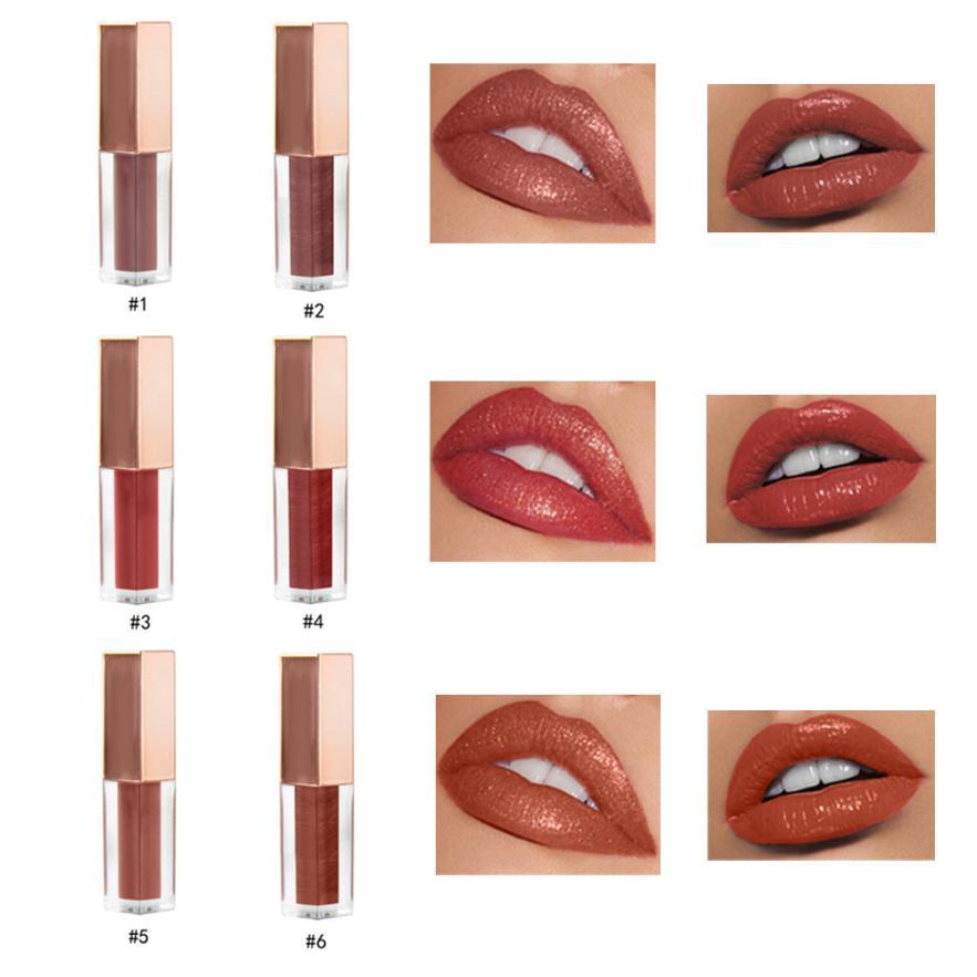 Womans fashion 6 Colors Nude Velvet Glossy Lip-Gloss Lipstick Lip Cream Cosmetic 0702