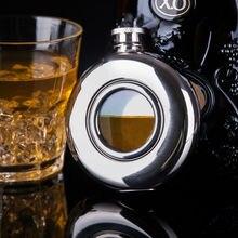 Mealivos Portable 4 oz Petaca de Acero Inoxidable liso Inferior Circular translúcido Licor vodka Whisky drinkware