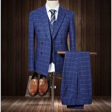 (jacket+pants+vest) 2017 fashion male singer men suit autumn winter slim business suit fit groom party wedding prom dress suit