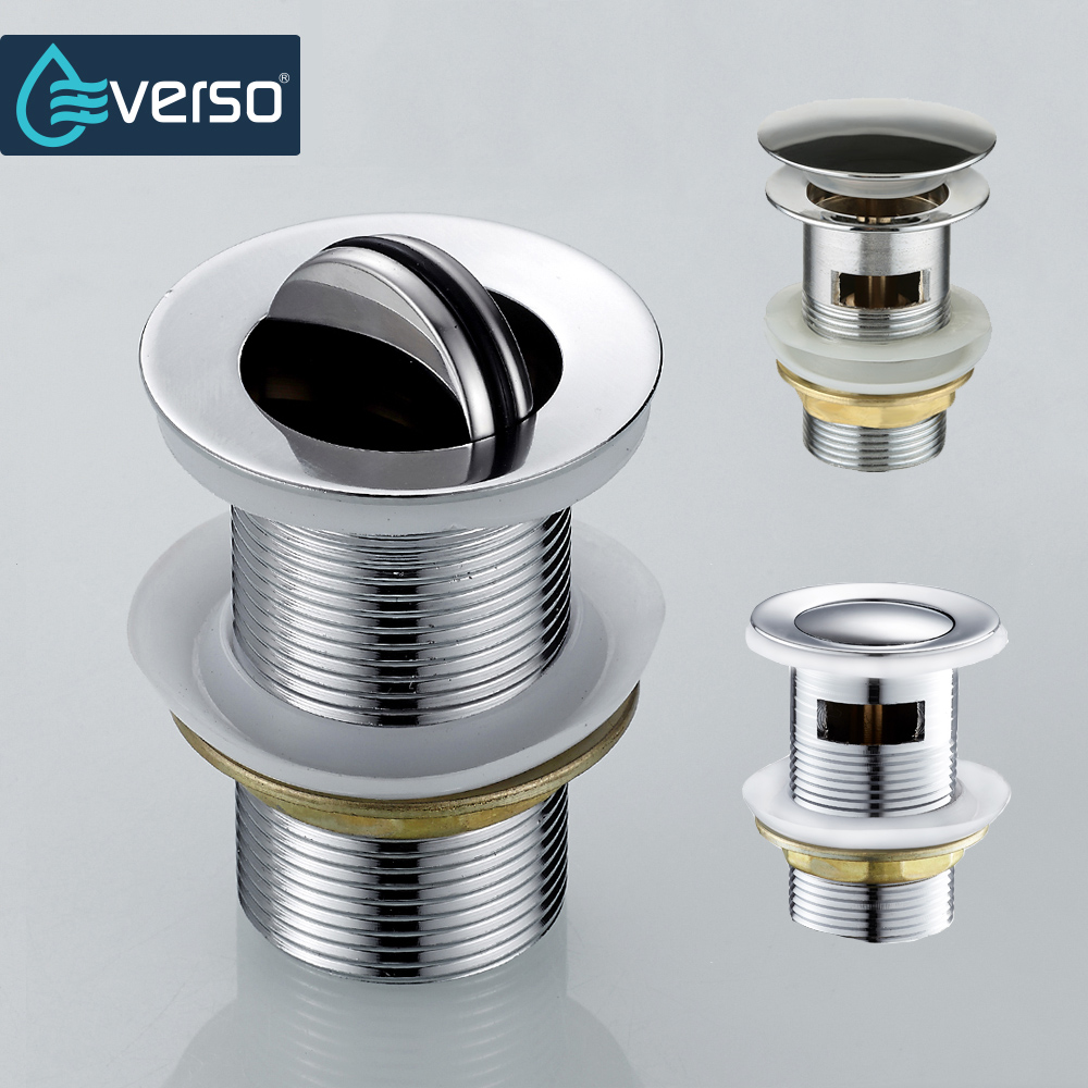 EVERSO Pop Up Drain With Overflow Bathroom Basin Sink Sink Drain Plugs Kitchen Sink Strainer Shower Drain Stopper Bathtub lacquered black drains bathroom basin sink pop up drain vessel strainer push down push up drain brass wrer023 798