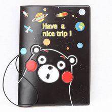 Creative Cartton Black Bear Passport Cover Women/Men Air Tickets Bank Card Bag Holder Portable On The Case For Travel