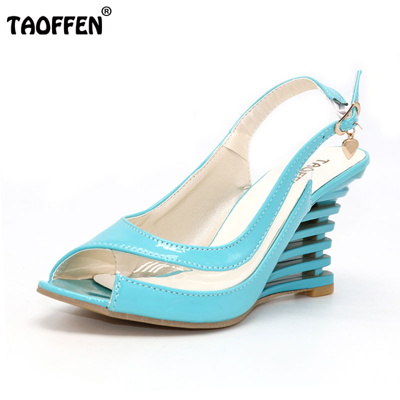 TAOFFEN High Wedge Heel Sandals Buckle Style Open Toe Transparent Shoes Women's Summer Shoes Patent PU Summer Brand New Shoes pu line style buckle high heel womens glitter sandals