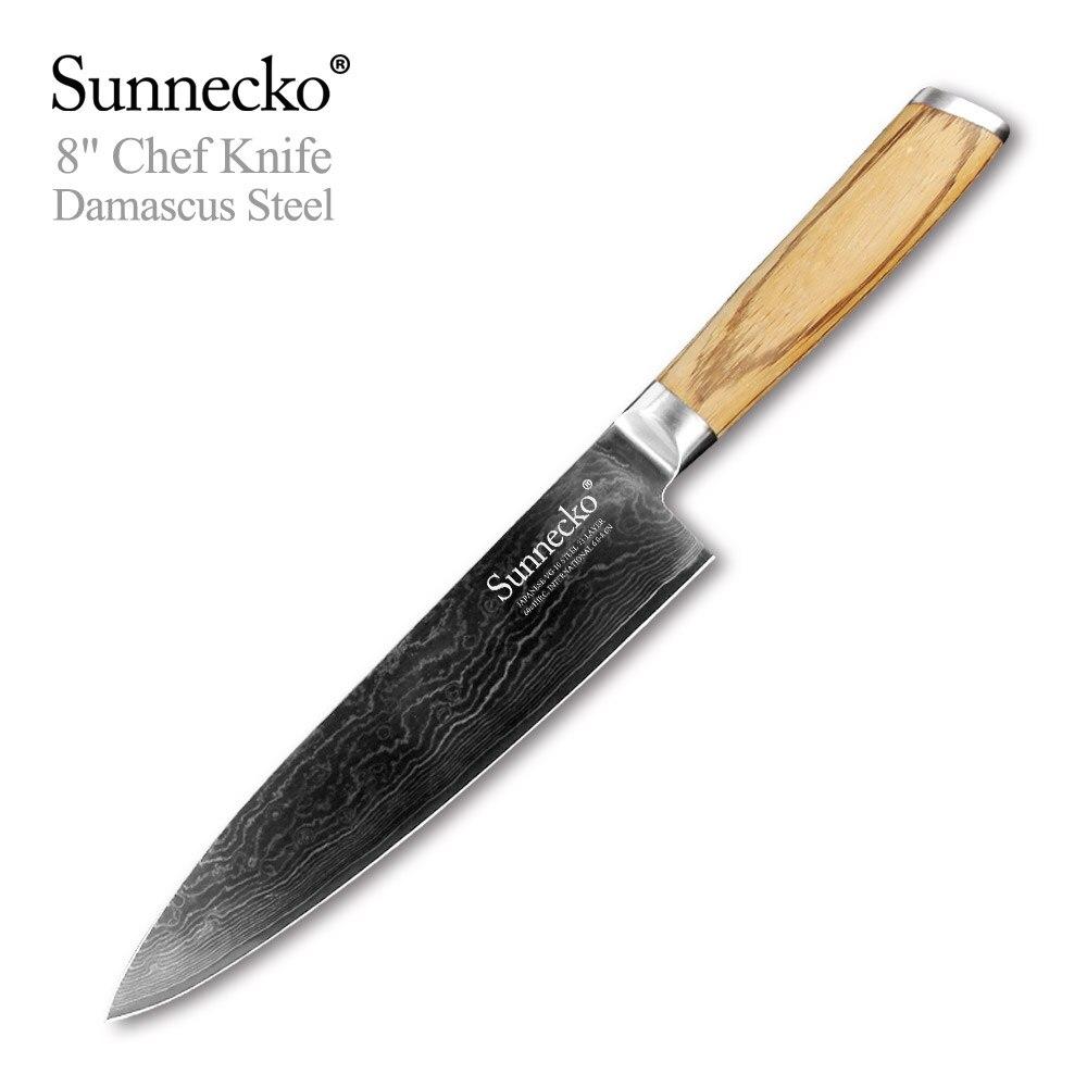 """SUNNECKO couteau de Chef 8 """"tranchant japonais damas VG10 lame en acier couteaux de cuisine Original manche en bois couperet tranchage coupe viande-in Couteaux de cuisine from Maison & Animalerie    1"""