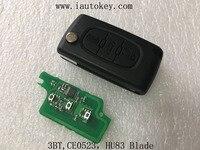 (CE0523 FSK) Flip remoto Clave 433 MHz con la viruta ID46 para Peugeot 207 307 308 407 607 Del Coche de Entrada Sin Llave Fob ID46 7941 Chip