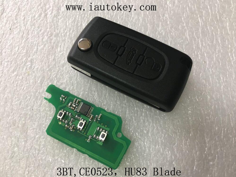 Prix pour (CE0523 FSK) à distance Flip Clé 433 MHz avec ID46 puce pour Peugeot 207 307 308 407 607 De Voiture D'entrée Sans Clé Fob ID46 7941 puce