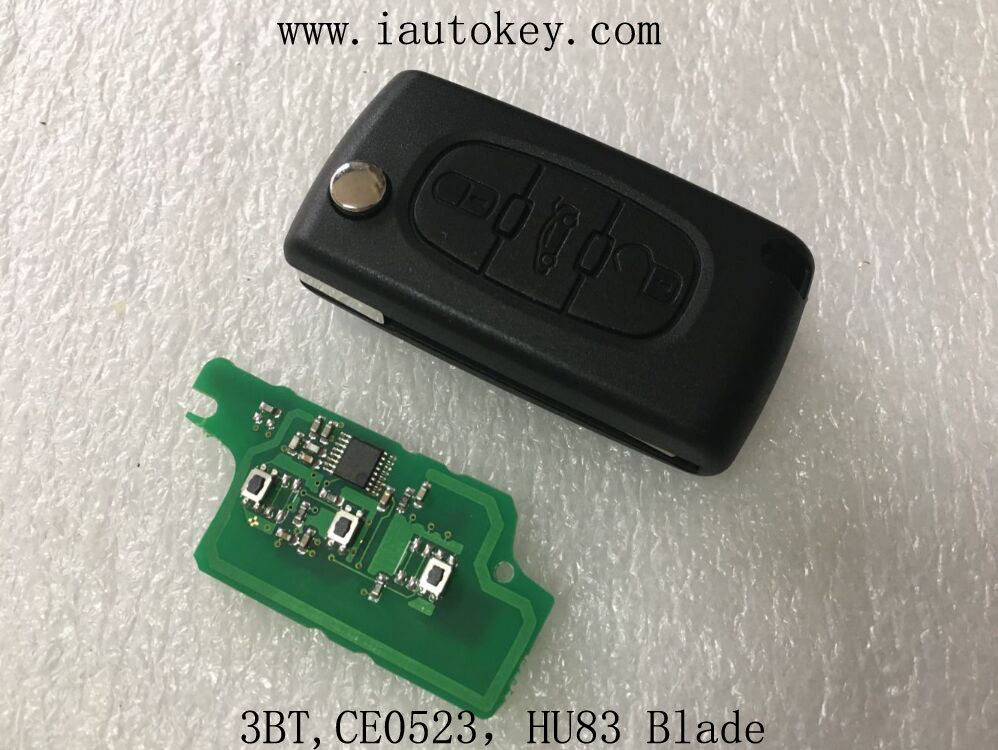 Qcontrol (CE0523 FSK) дистанционного флип ключ 433 мГц с ID46 чип для Peugeot 207 307 308 407 607 автомобилей Автозапуск fob ID46 7941 чип