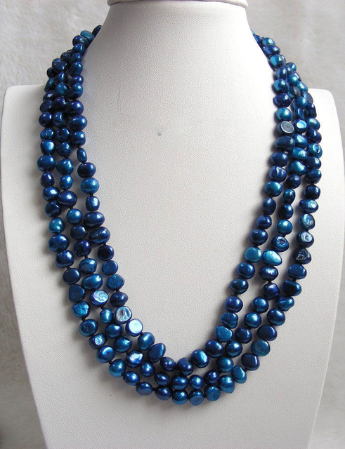 7cdce84ab 3row navy blue freshwater pearls necklace T87Y-in Chain Necklaces ...