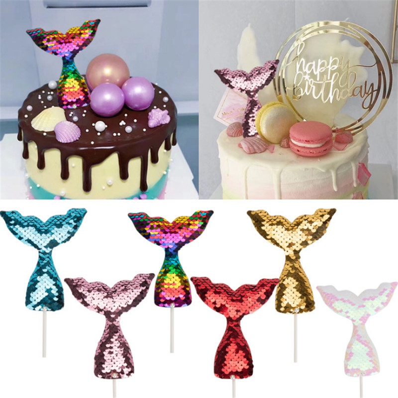 2PC Mermaid Tail Cake Decoration Mermaid Cake Topper Cupcake Birthday Party Decorations Kids Baby Shower Party Decoration-S