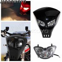 Evrensel siyah 12V kafatası motosiklet ön far için özel sokak yarışı bisiklet motokros iskelet far Fairing