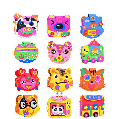 Handmade EVA DIY Bags Cute Cartoon Crafts Sewing Animal Puzzle Backpacks Toys For Kids Children Creative Learning Education