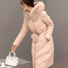 Contrary Season Special Offer Real Fox Fur Collar Long Coats White Duck Down Coat Jacket Slim Thick Female Winter Down Jacket