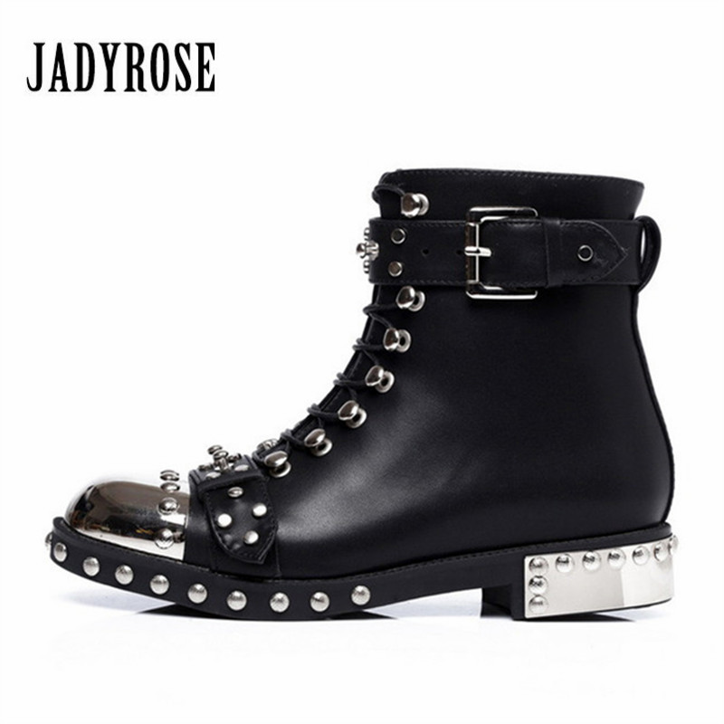 Jady Rose Runway Rivets Studded Women Ankle Boots Black Genuine Leather Botas Mujer Lace Up Female Autumn Platform Flat ShoesJady Rose Runway Rivets Studded Women Ankle Boots Black Genuine Leather Botas Mujer Lace Up Female Autumn Platform Flat Shoes