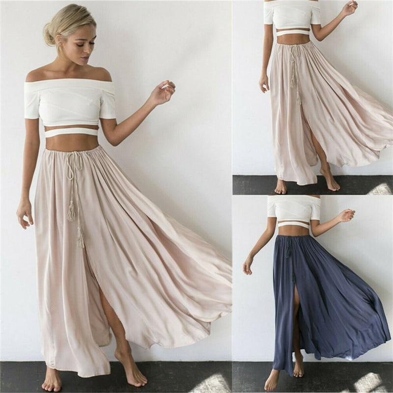 2019 Maxi Skirt Women Boho High Waist Chiffon Long Solid Ladies Skirt Ruffle Causal Female Ankle-length Metallic Pleated Skirt