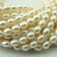 Natural Freshwater Pearls Oval Rice Shaped Loose Beads 5X6mm 40cm Pc Diy Chain Necklace Beads